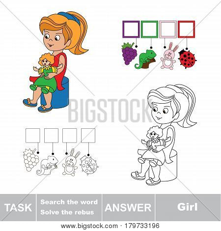 Educational puzzle game for preschool kids. Find the hidden word Girl