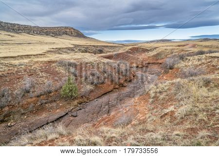 dry Park Creek and prairie at northern Colorado foothills, early spring scenery