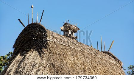 Rooftop detail Bena traditional village with grass huts of Ngada people in Flores near Bajawa Indonesia.