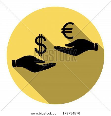 Currency exchange from hand to hand. Dollar adn Euro. Vector. Flat black icon with flat shadow on royal yellow circle with white background. Isolated.