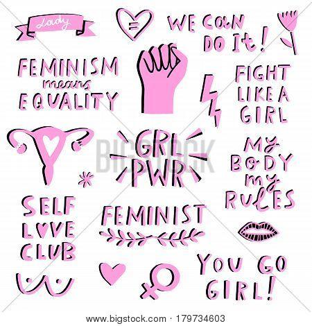 Vector feminism symbols icon set. Femenist movement, protest