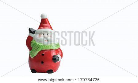 Ceramic Santa Clause model isolated on white background