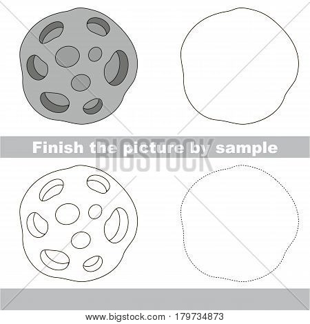 Drawing worksheet for preschool kids with easy gaming level of difficulty, simple educational game for kids to finish the picture by sample and draw the Meteorite