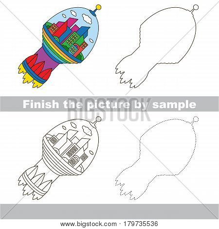 Drawing worksheet for preschool kids with easy gaming level of difficulty, simple educational game for kids to finish the picture by sample and draw the Flying Sapce City Rocket