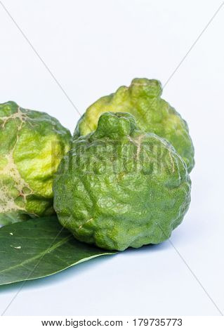 The Kaffir lime beautiful in white background