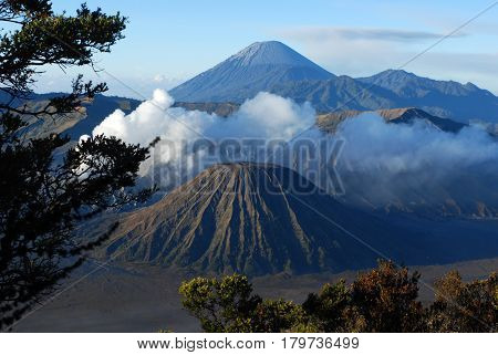 Mount Bromo active volcano with clear blue sky at the Tengger Semeru National Park in East Java Indonesia.