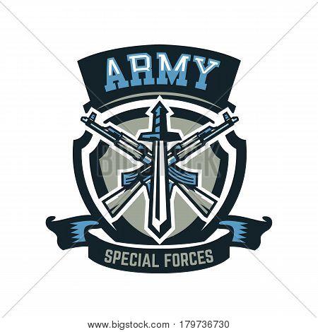 Logo, emblem, military weapons, machine guns. Vector illustration, printing on T-shirts
