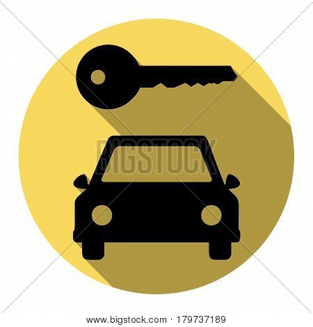 Car key simplistic sign. Vector. Flat black icon with flat shadow on royal yellow circle with white background. Isolated.