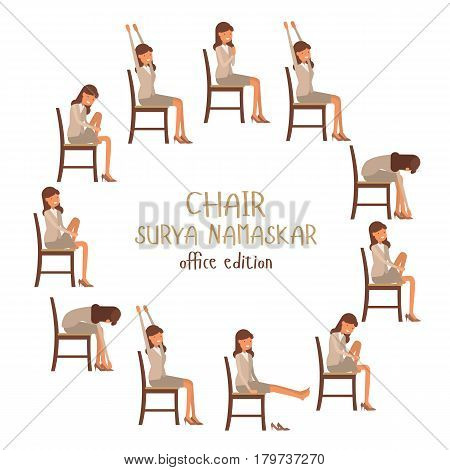 Round Vector Illustration Of Chair Sun Salutation Positions. Woman In Suit Doing Yoga At Work. Offic
