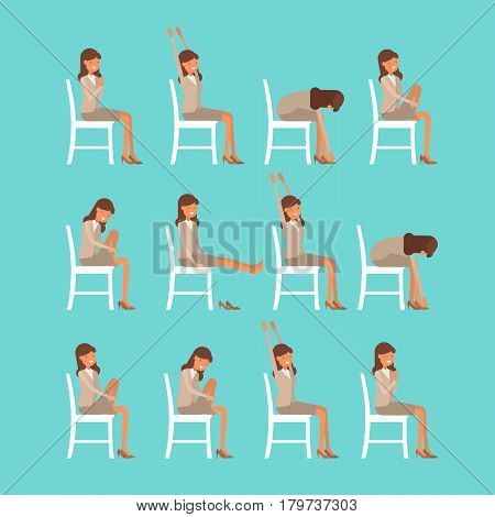 Vector Illustration Of Chair Sun Salutation Positions. Woman In Suit Doing Yoga At Work. Office Work