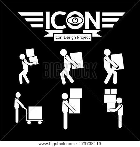 an images of Or pictogram Man Moving Box Icon