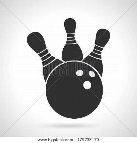 Vector illustration. Silhouette of bowling ball knocks down pins. Sports equipment. Patterns elements for greeting cards, wallpapers