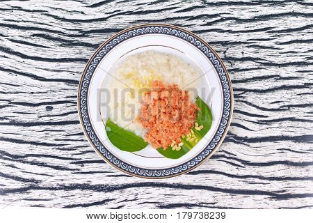 Sticky Rice In Coconut Milk With Stir-fried Grated Coconut And Shrimp