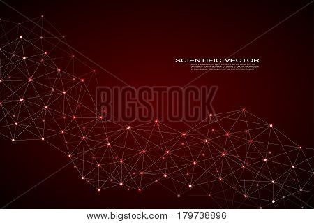 Molecule DNA and neurons vector. Molecular structure. Connected lines with dots. Genetic and chemical compounds. Chemistry, medicine, science, technology concept. Geometric abstract background.