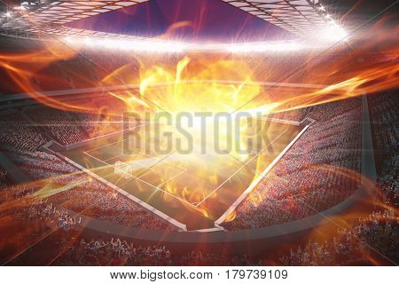 Ball of fire against large football stadium with lights 3d