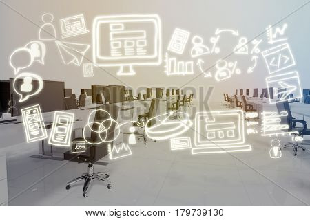 Digital generated image of various business icons against office furniture