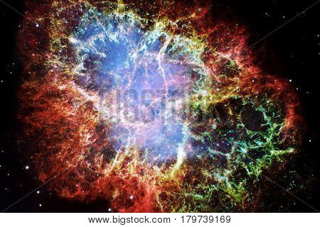 Crab Nebula. Elements of this Image Furnished by NASA.