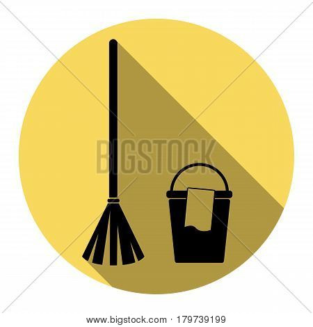 Broom and bucket sign. Vector. Flat black icon with flat shadow on royal yellow circle with white background. Isolated.
