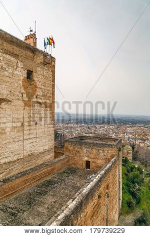 View of Walls and tower of Fortress Alcazaba and Granada city Spain
