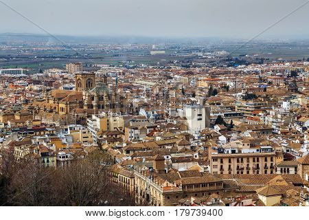 view of Granada city with cathedral from Alcazaba fortress Spain