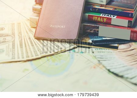 Traveling concept : Passport books map U.S. dollar bills Thai banknotes and credit cards