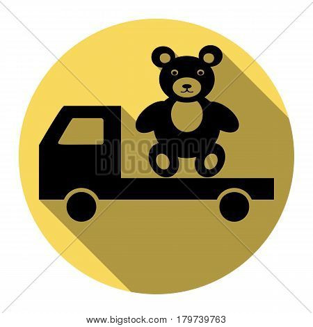 Truck with bear. Vector. Flat black icon with flat shadow on royal yellow circle with white background. Isolated.