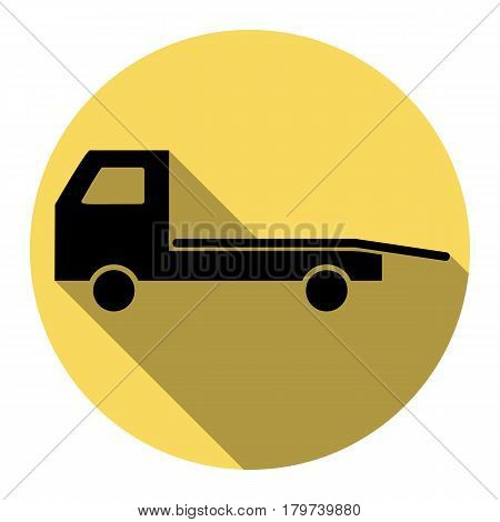 Service of evacuation sign. Wrecking car side. Car evacuator. Vehicle towing. Vector. Flat black icon with flat shadow on royal yellow circle with white background. Isolated.