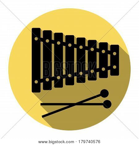 Xylophone sign. Vector. Flat black icon with flat shadow on royal yellow circle with white background. Isolated.