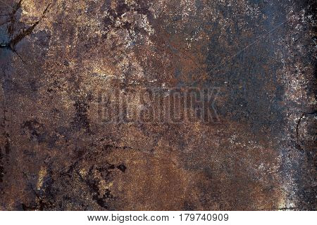 Old rusty steel metal wall with heavy corrosion background texture
