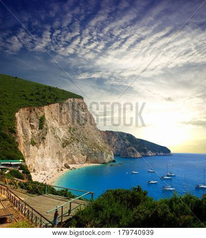 Summer rocky coastline view near Porto Katsiki beach on Ionian Sea