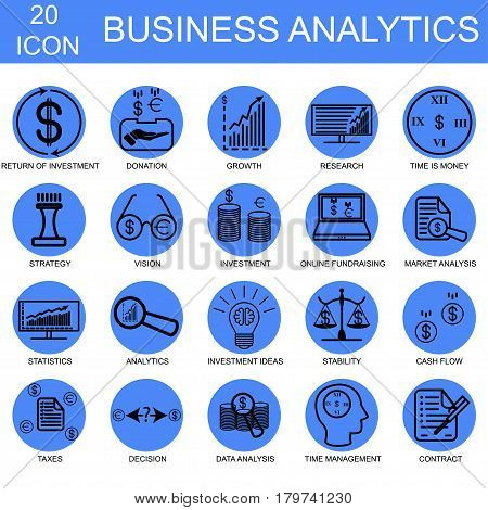 Business analysis icon set, abstract, icon, silhouette, shopping, money, internet, office.