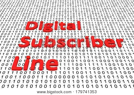 Digital subscriber Line in the form of binary code, 3D illustration