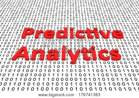 Predictive analytics in the form of binary code, 3D illustration