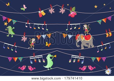 Illustration for children with cute cartoon animals - acrobats. Cheerful elephant, crocodiles, monkeys and butterfly. Design elements. Greeting card. Beautiful seamless pattern in indian style.