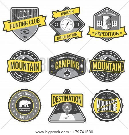 Set badges mountain expeditions and hunting emblem logo. Vector