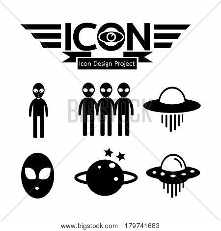 an images of Or pictogram Alien ufo icon
