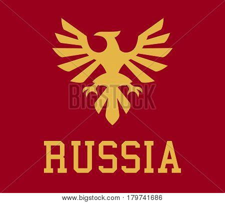 Logo Russia, the proud eagle, heraldry. Vector illustration, a flat style.