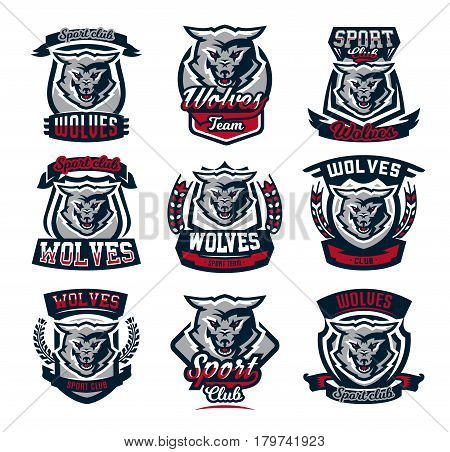 Set emblems, logos, stickers, aggressive wolf ready to attack predator. Vector illustration, printing on T-shirts.