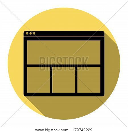 Web window sign. Vector. Flat black icon with flat shadow on royal yellow circle with white background. Isolated.