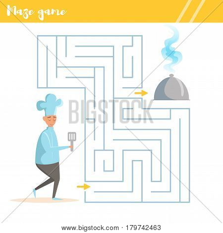 Maze game for kids. Vector illustration. Isolated art on white background. Flat.