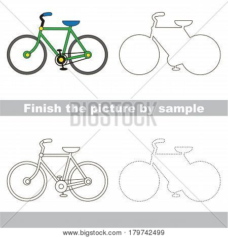 Drawing worksheet for preschool kids with easy gaming level of difficulty, simple educational game for kids to finish the picture by sample and draw the Two Wheeled Bicycle