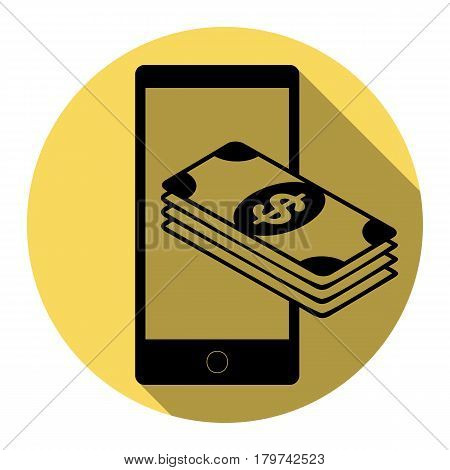 Payment, refill your mobile smart phone, . Vector. Flat black icon with flat shadow on royal yellow circle with white background. Isolated.