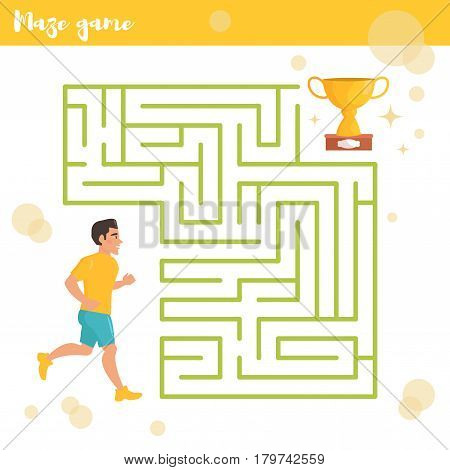 Children's labyrinth. Vector. Cartoon. Isolated. Flat. Illustration for children Runner and prize