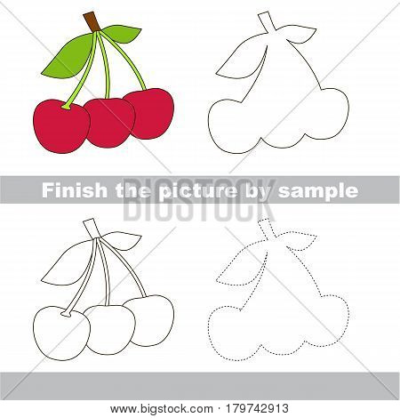 Drawing worksheet for preschool kids with easy gaming level of difficulty, simple educational game for kids to finish the picture by sample and draw the Three Red Cherryes