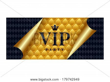 VIP party premium invitation card poster flyer. Black and golden design template. Quilted yellow pattern decorative background with black and golden curled paper.