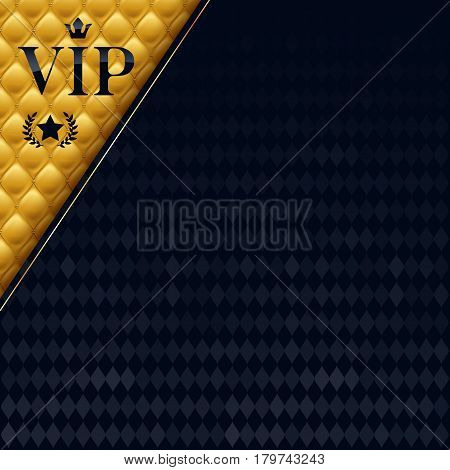 VIP party premium invitation card poster flyer. Black and golden design template. Quilted yellow pattern decorative background with copy space.