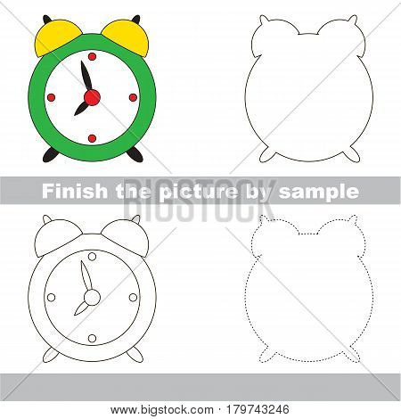 Drawing worksheet for preschool kids with easy gaming level of difficulty, simple educational game for kids to finish the picture by sample and draw the Clock