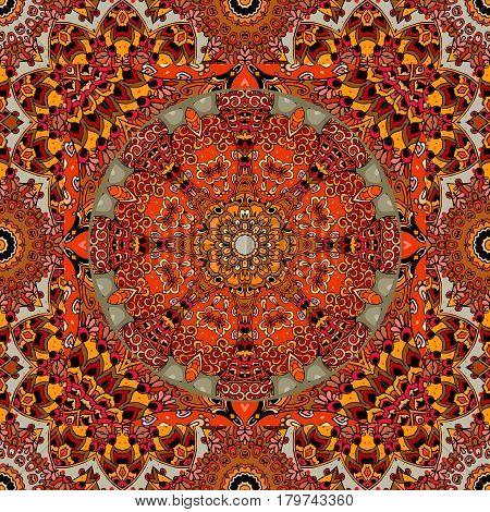 Mordovia national pattern. Bright vector illustration with sun - wheel, stylized flower and ornamental frame. Lovely tablecloth, pillowcase, carpet, neckwear, bandana print.