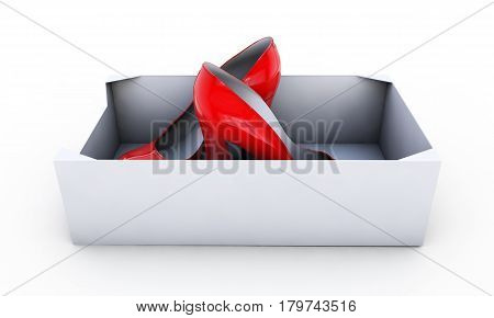 Red female shoes in box isolated on white - 3d render illustration