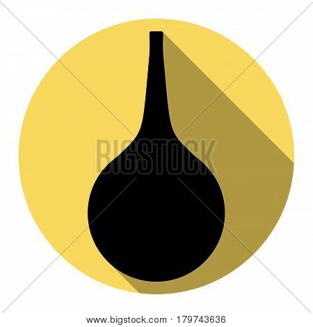 Enema sign. Vector. Flat black icon with flat shadow on royal yellow circle with white background. Isolated.